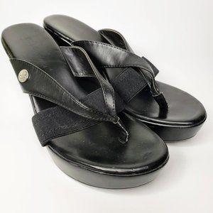 BCBGeneration Quickk Black Wedge Thong Sandal 8M